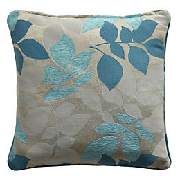 Araxa Leaves Jacquard Duck Egg & Taupe Cushion