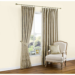 Caraway Gold Effect Floral Pencil Pleat Lined Curtains