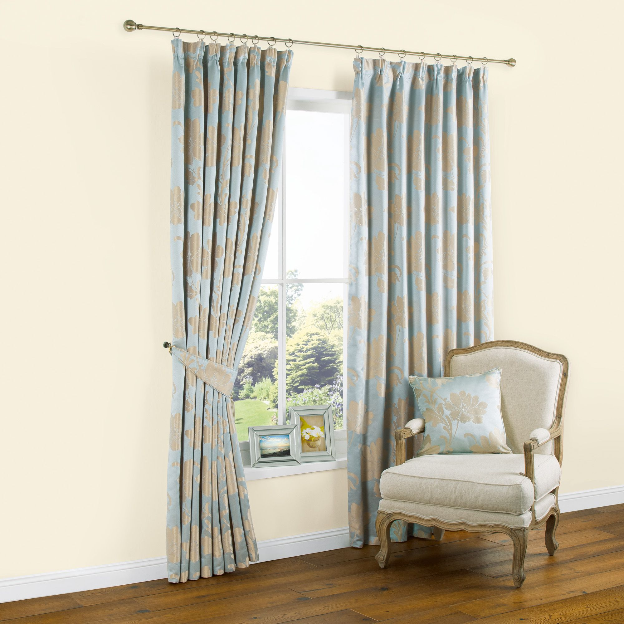 Caraway Duck Egg Gold Effect Floral Jacquard Pencil Pleat Lined Curtains W 228 Cm L 228 Cm