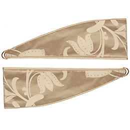 Caraway Gold Floral Jacquard Curtain Tie Backs, Pack