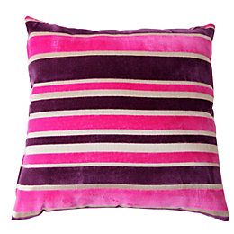 Tuberose Striped Cream, Pink & Purple Cushion