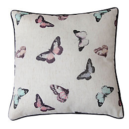 Begonia Butterfly Cream & Pink Cushion