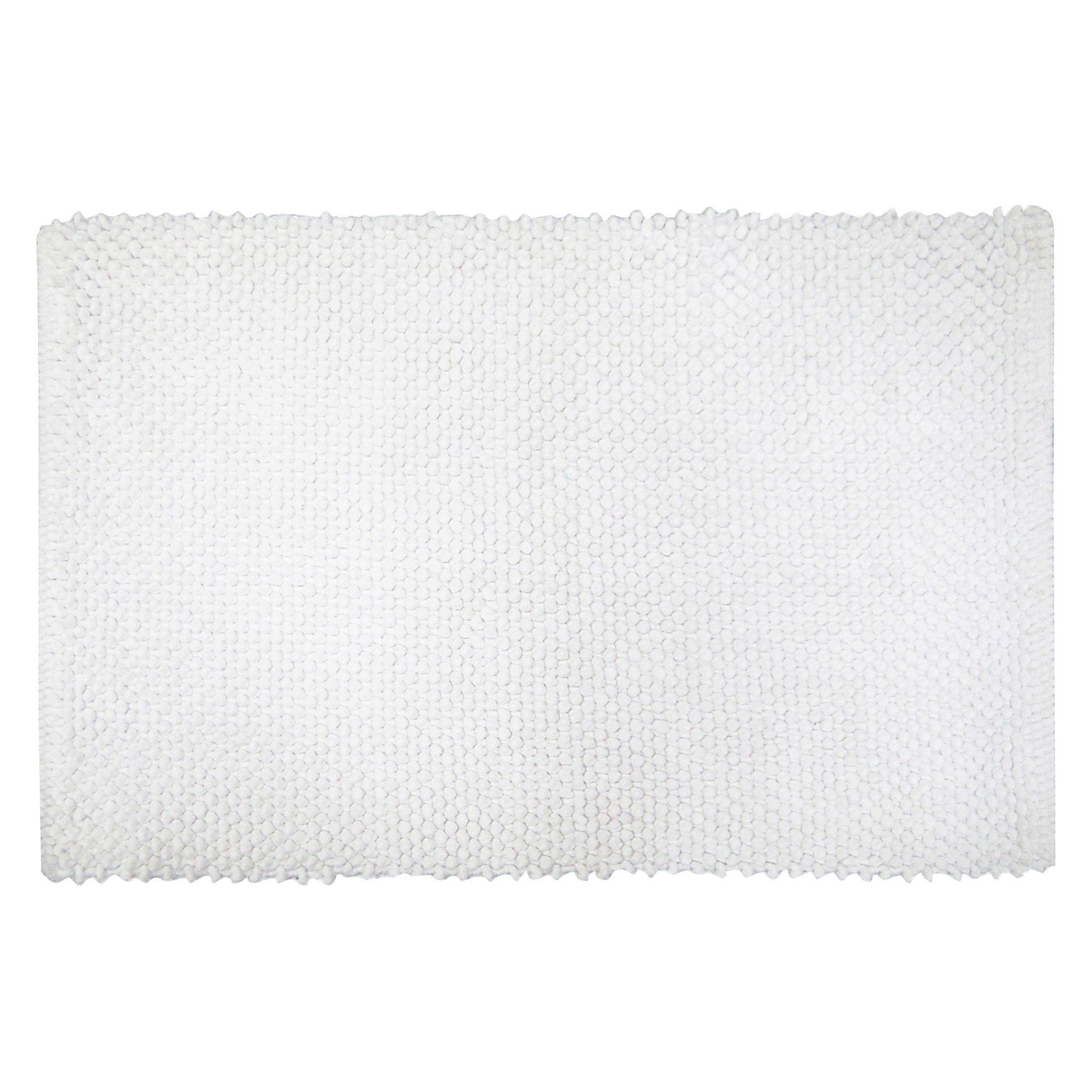 Cooke & Lewis Olson White Popcorn Cotton Bath Mat (l)80cm (w)500mm