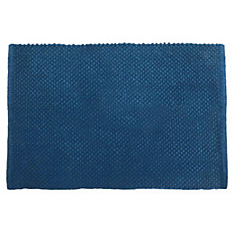 Cooke & Lewis Olson Blue Cotton Bath Mat