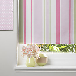 Colours Keel Corded Green, Pink & White Roller