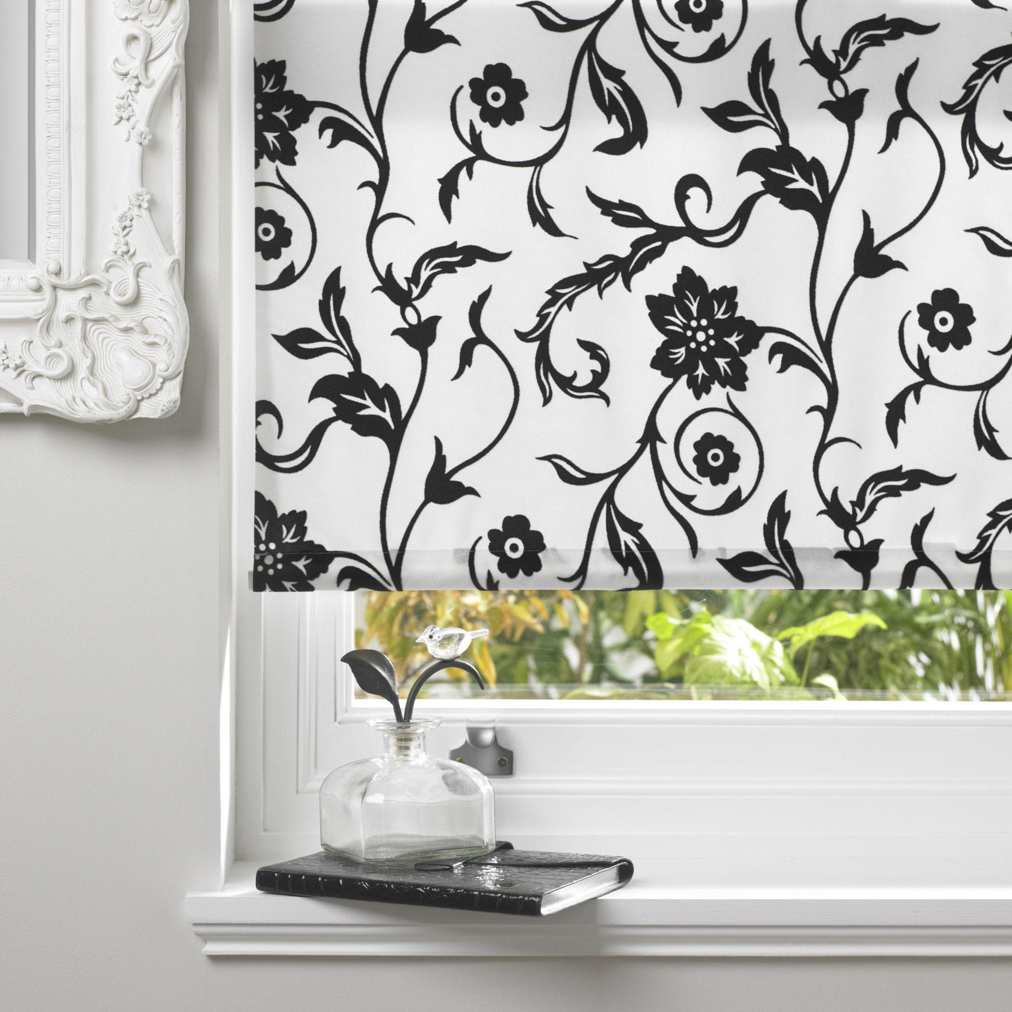 Bathroom Window Blinds B&Q colours rosette corded black & white roller blind (l)160 cm (w)180