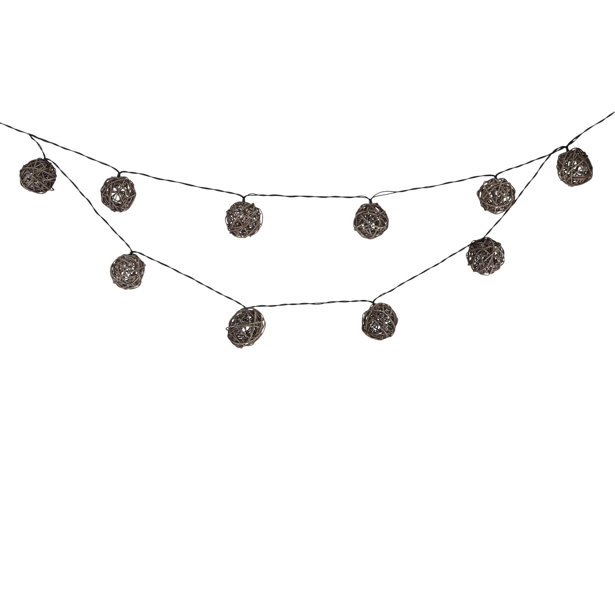 blooma bestia solar powered grey 20 led ball string lights