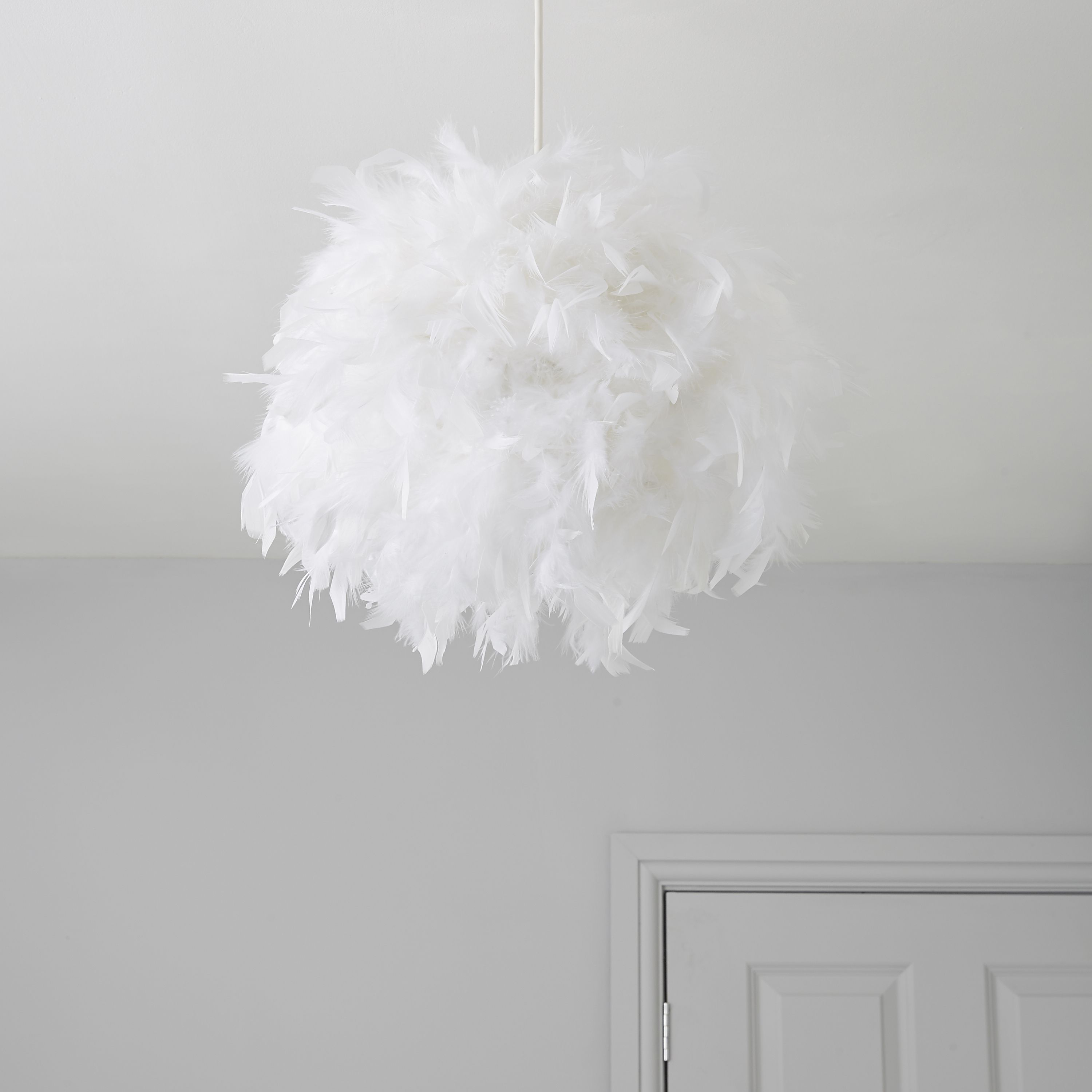 Colours Melito White Feather Ball Light Shade D25cm