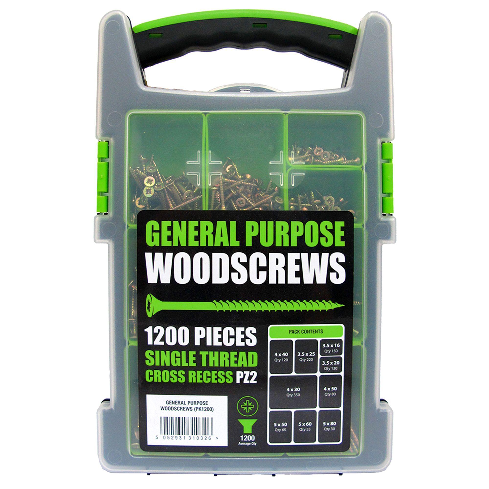 B&q Yellow Zinc-plated Zinc Woodscrew Grab Pack, Pack Of 1200