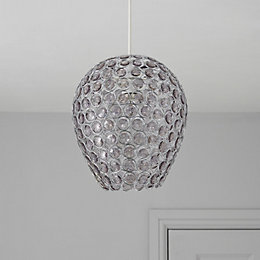 Colours Bartt Smokey Grey Beaded Light Shade (D)23cm