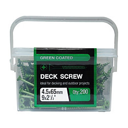 B&Q Green Steel Deck Screw (Dia)4.5mm (L)65mm, Pack