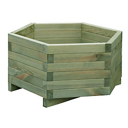 Hexagonal Wooden Planter (H)30cm (L)60cm