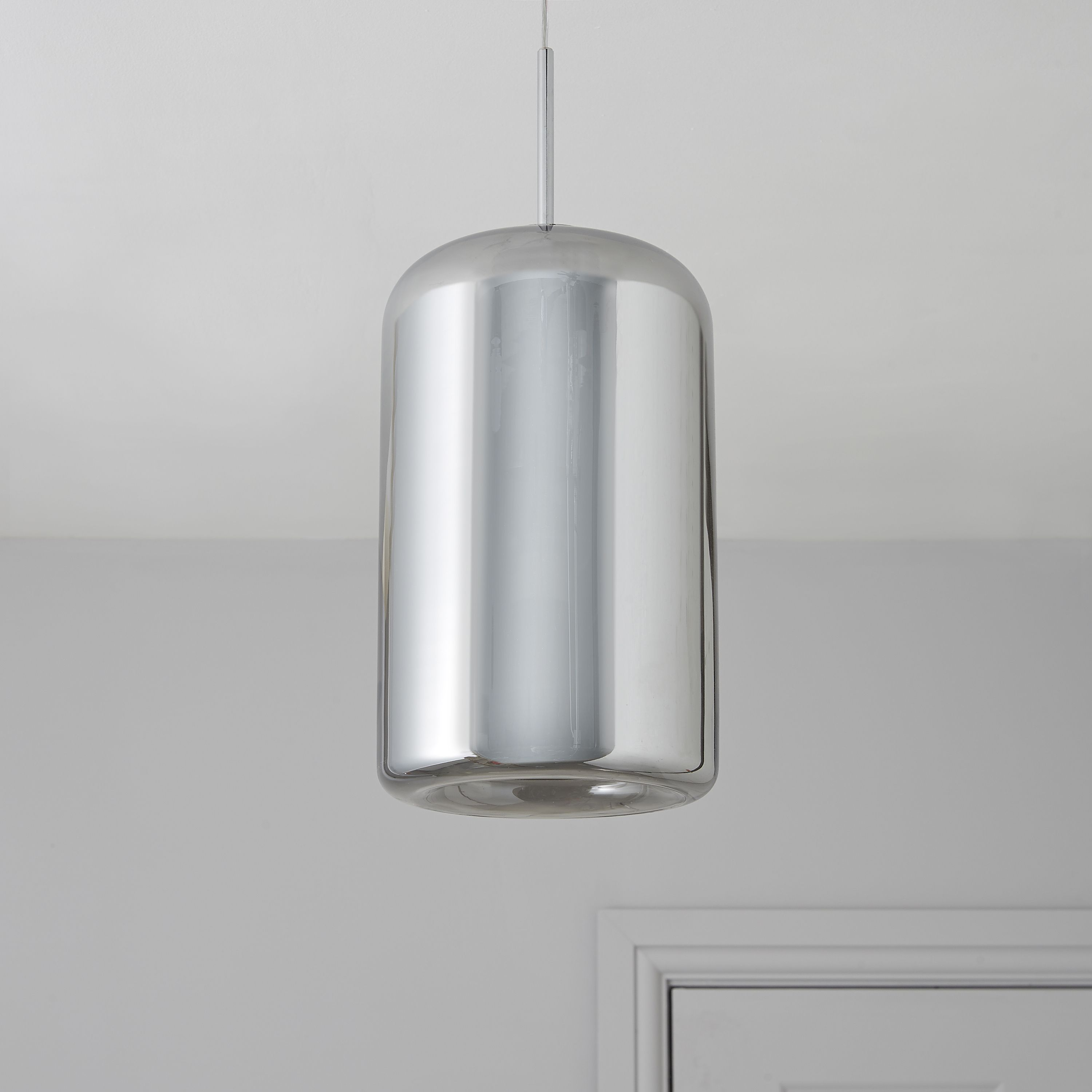 Bathroom Ceiling Lights At B&Q kynes smoked chrome effect pendant ceiling light | departments
