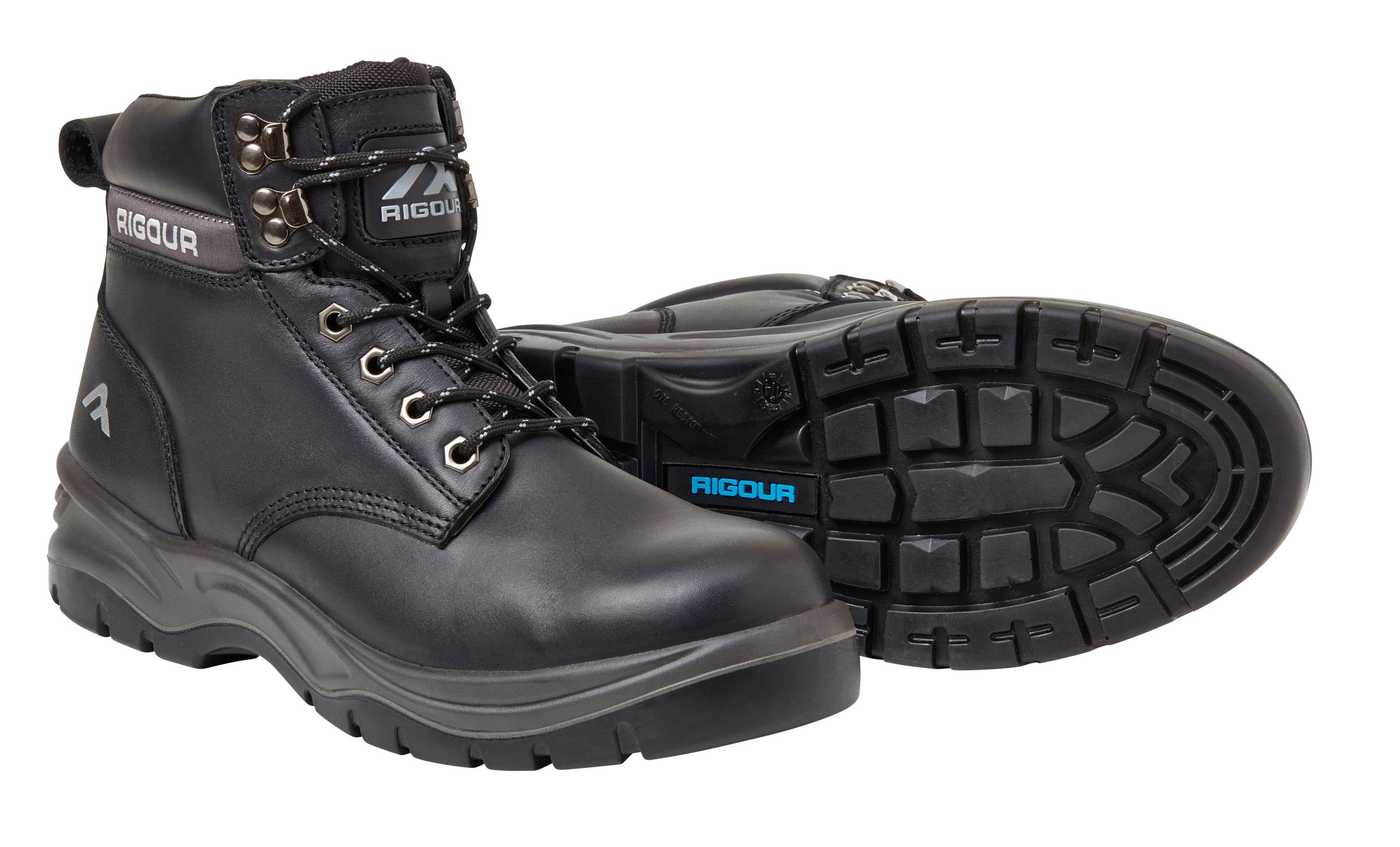Rigour Black Safety Work Boots, Size 11