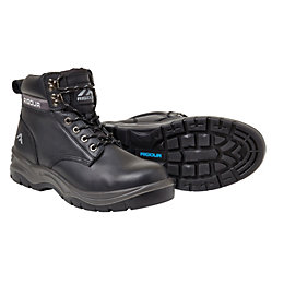 Rigour Black Safety Work Boots, Size 8