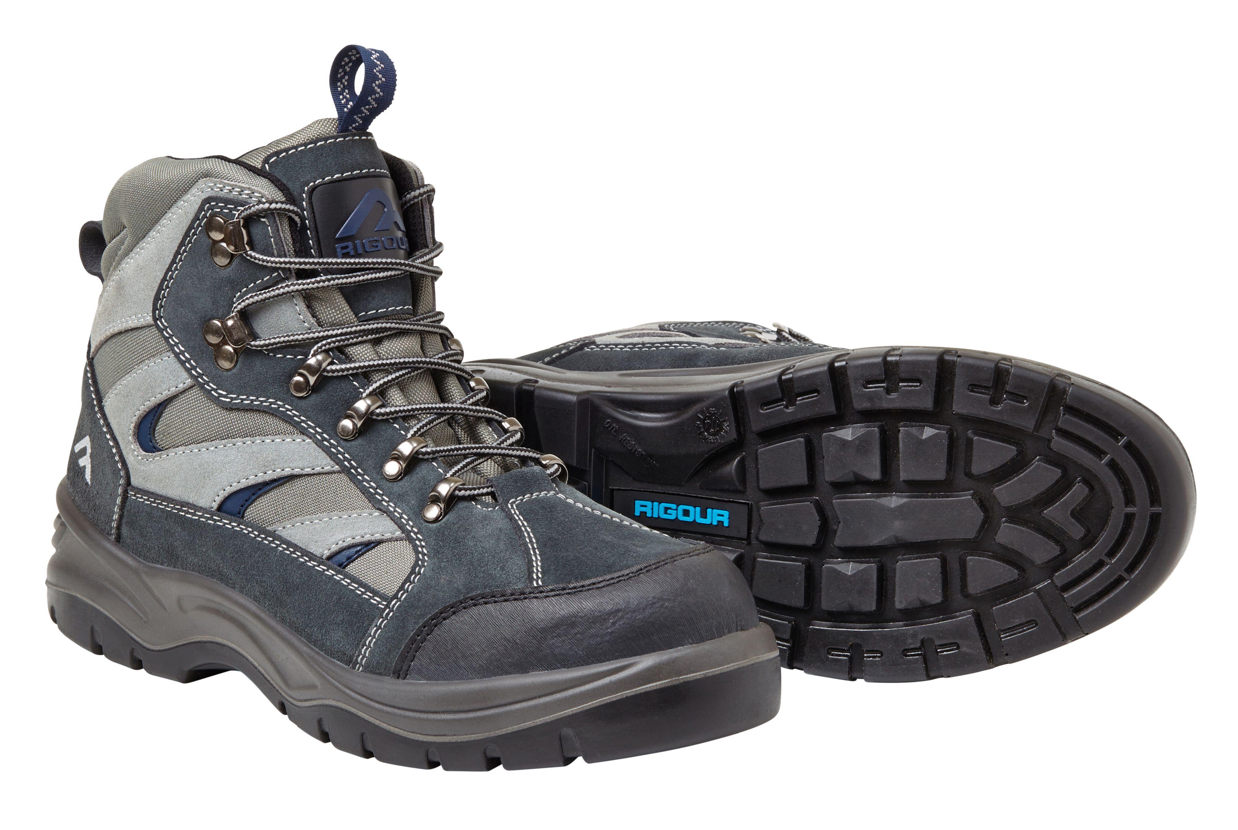 Rigour Grey & Blue Hiker Boots, Size 8