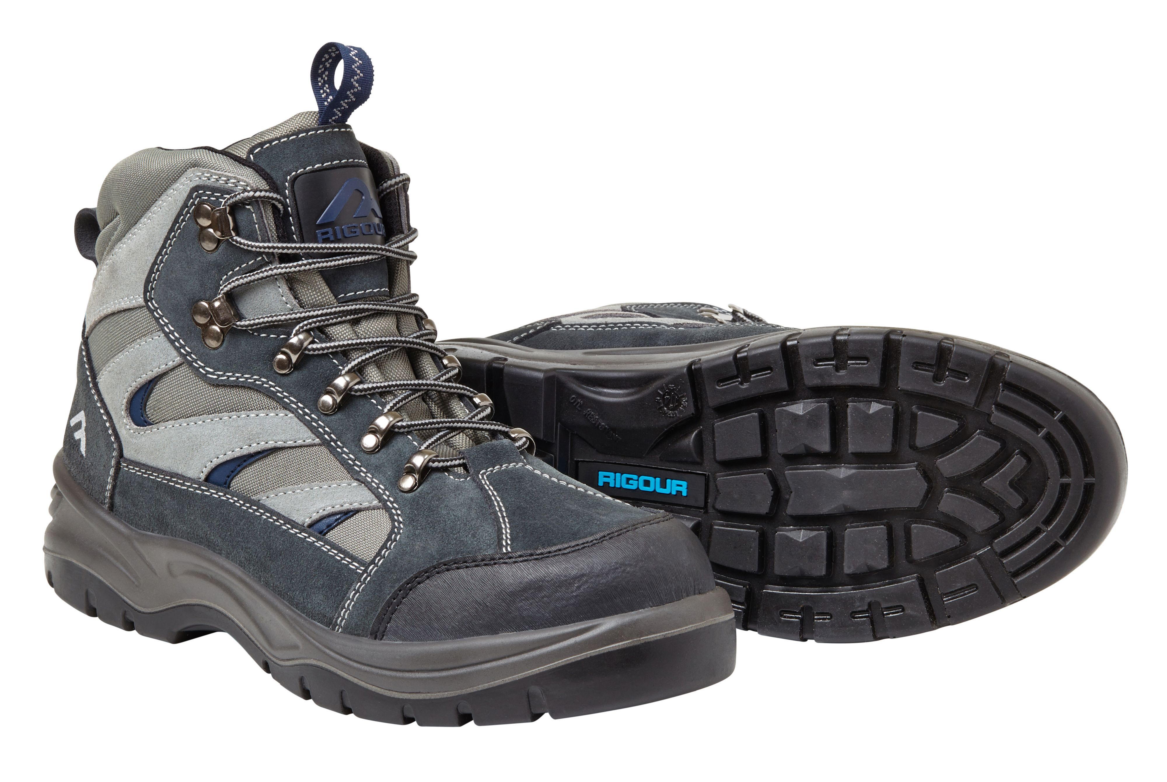 Rigour Grey & Blue Hiker Boots, Size 10