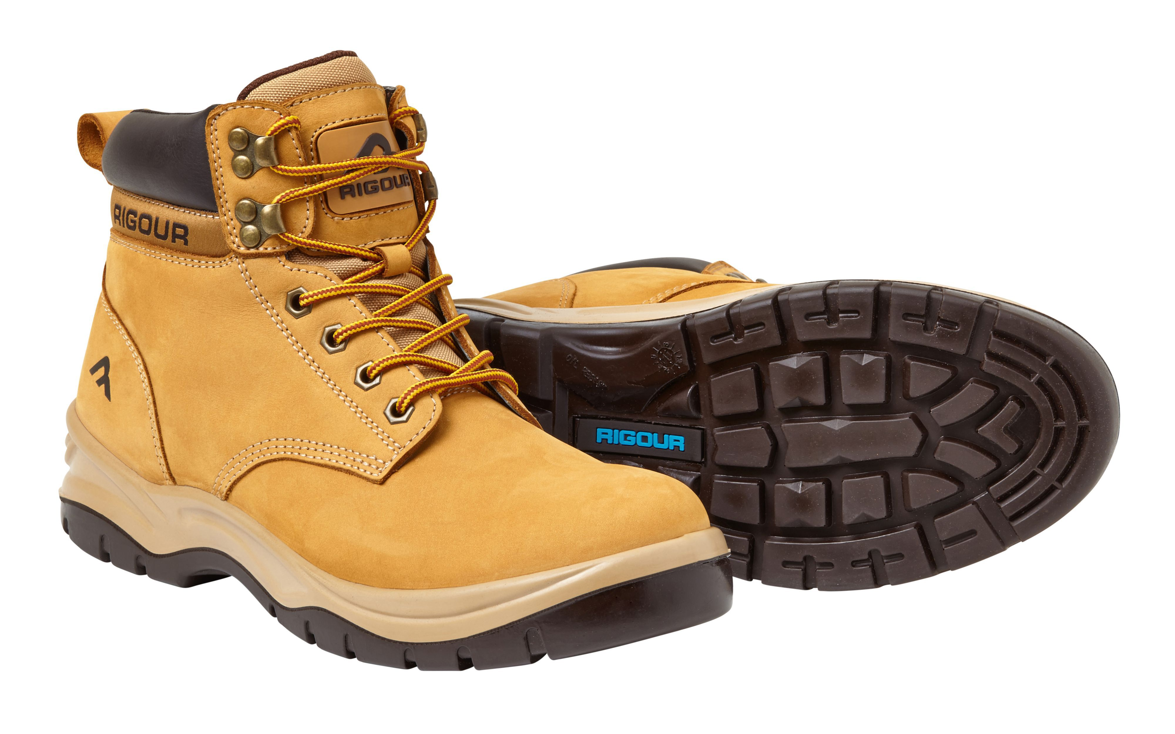 Rigour Wheat Safety Work Boots, Size 7
