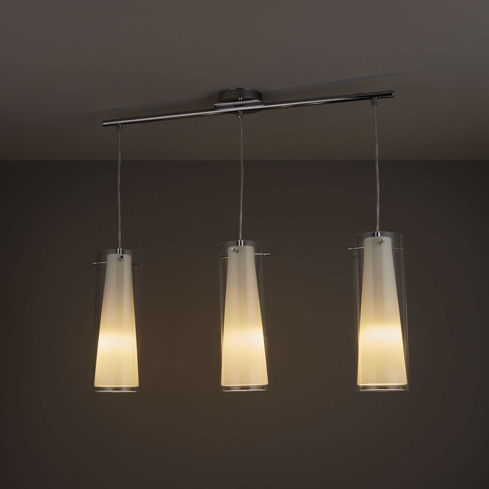 Kamara Tube White 3 Lamp Pendant Ceiling Light | Departments | DIY at B&Q