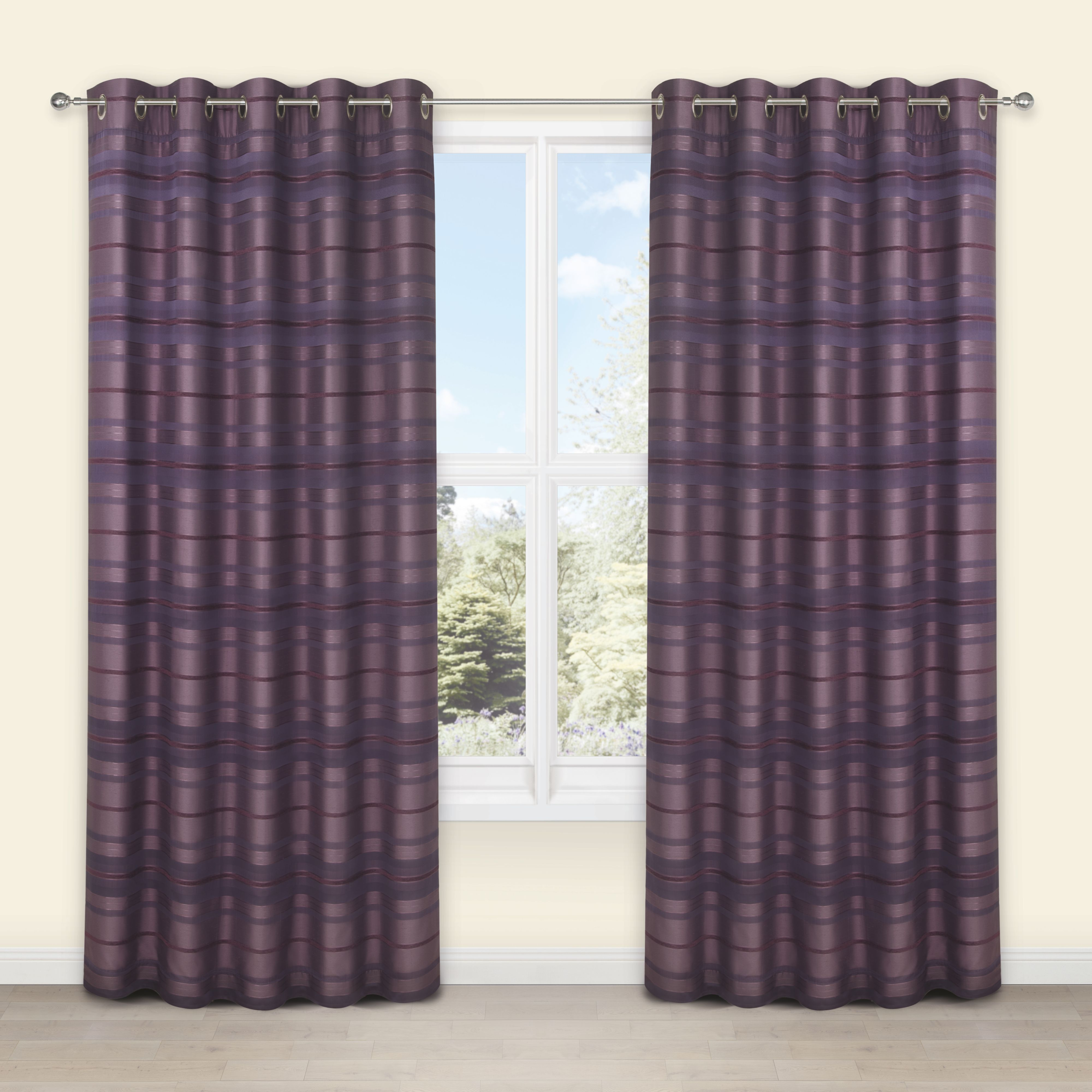Plum coloured bathroom accessories - Sarina Blueberry Plum Striped Woven Eyelet Lined Curtains W 117cm L