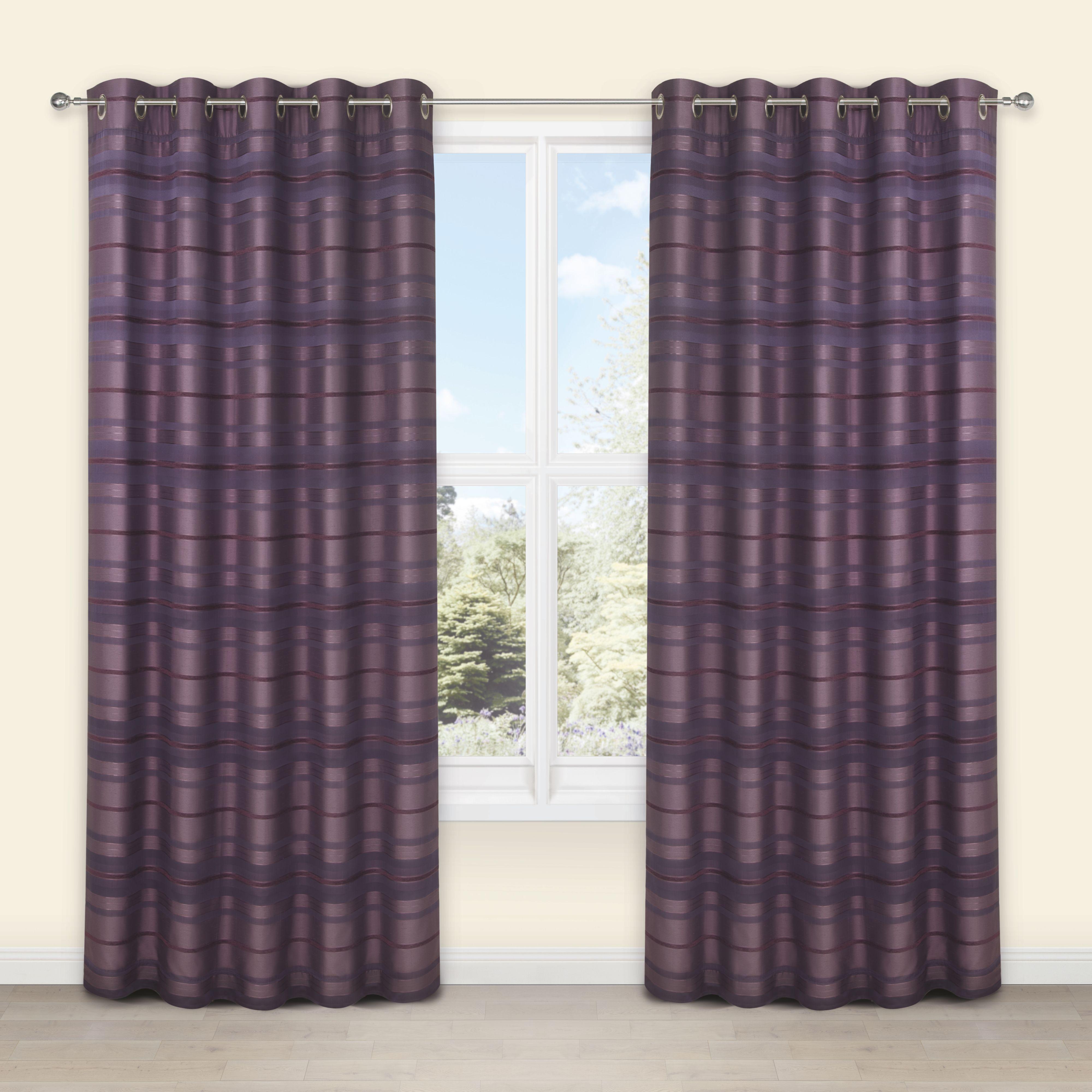 Plum curtains - Plum Bathroom Curtains Sarina Blueberry Plum Striped Woven Eyelet Lined Curtains W 167cm L 183cm