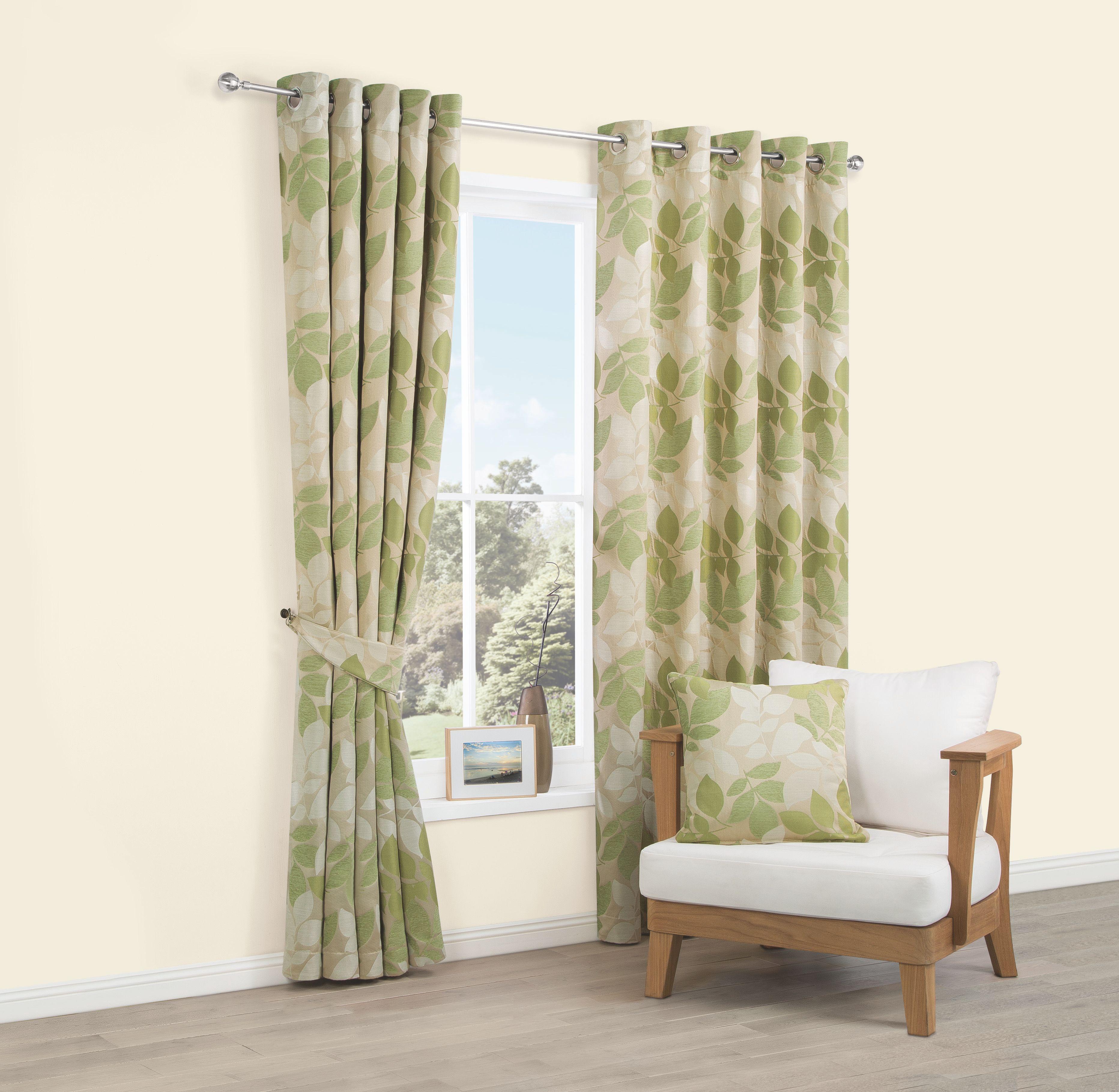 Araxa Citrus Green Leaves Woven Eyelet Lined Curtains (W)117 cm (L)137 cm |  Departments | DIY at B&Q