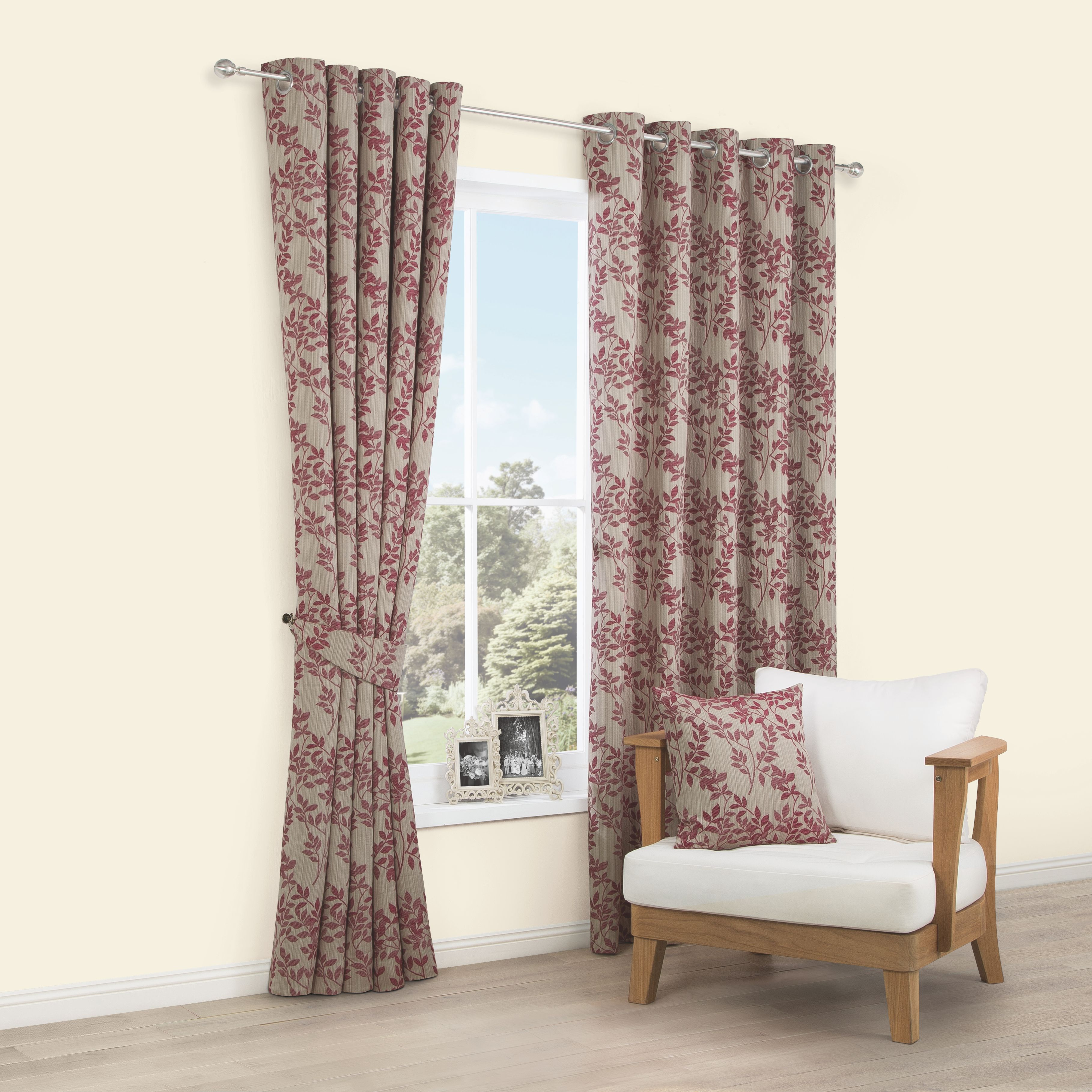 Walton Raspberry Leaves Jacquard Woven Eyelet Lined Curtains