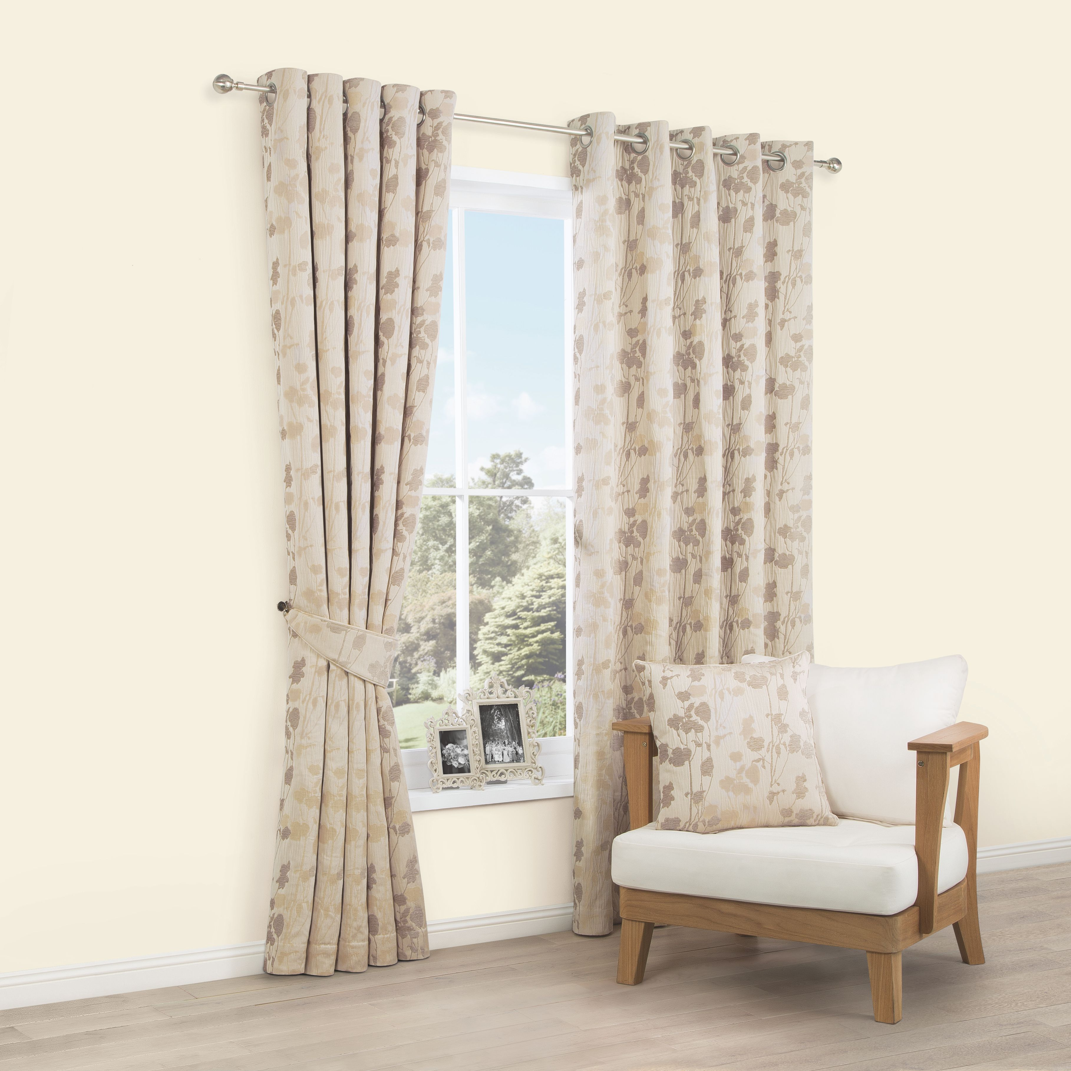 Alessandra Ivory Meadow Woven Eyelet Lined Curtains (W)228cm