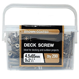 B&Q Brown Steel Deck Screw (Dia)4.5mm (L)65mm, Pack