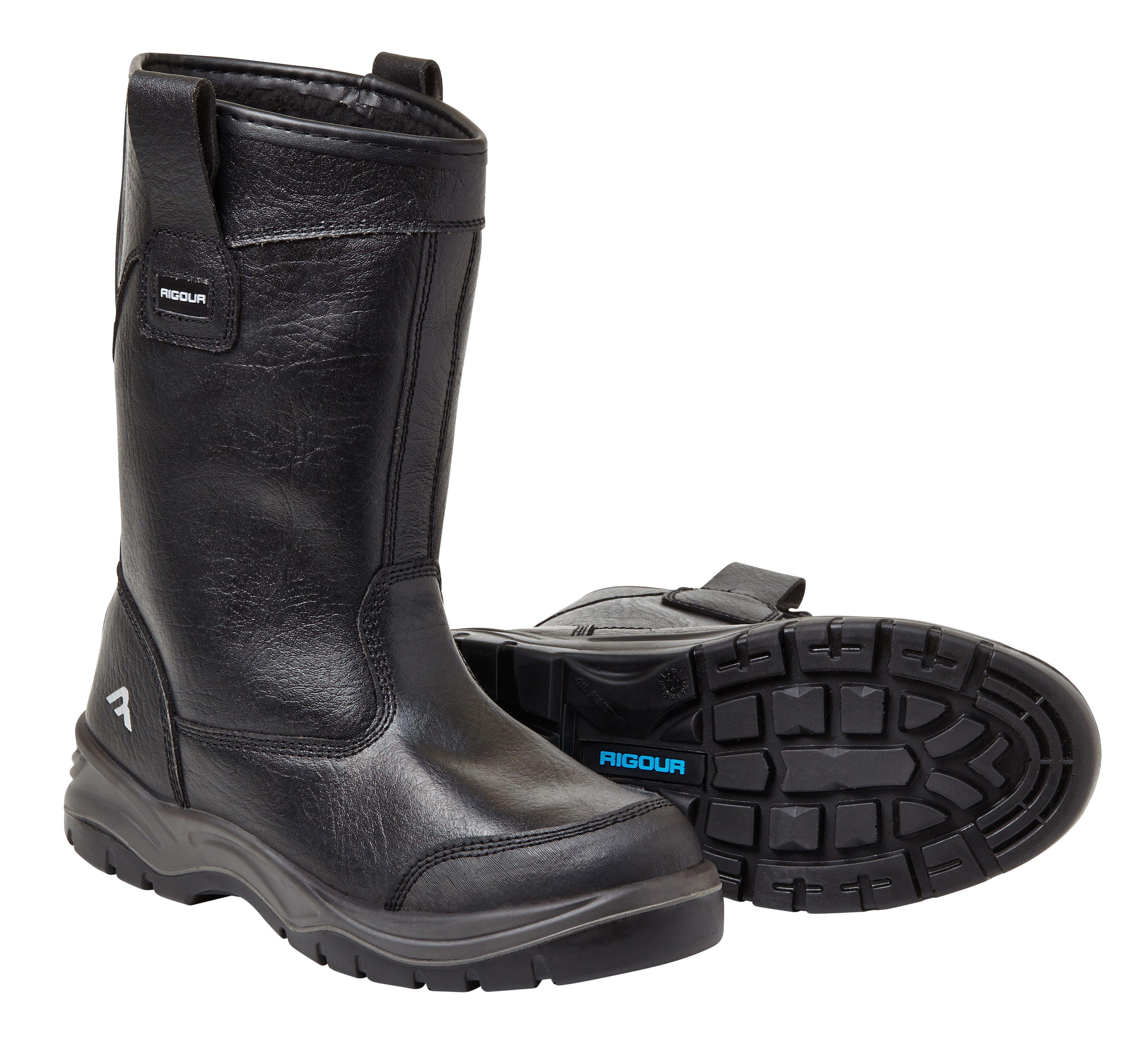 Rigour Black Rigger Boots, Size 10