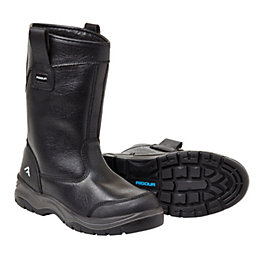 Rigour Black Action Leather Steel Toe Cap Rigger