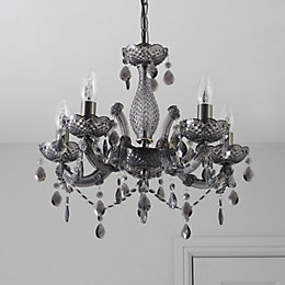 Annelise Crystal Droplets Smoked 5 Lamp Chandelier