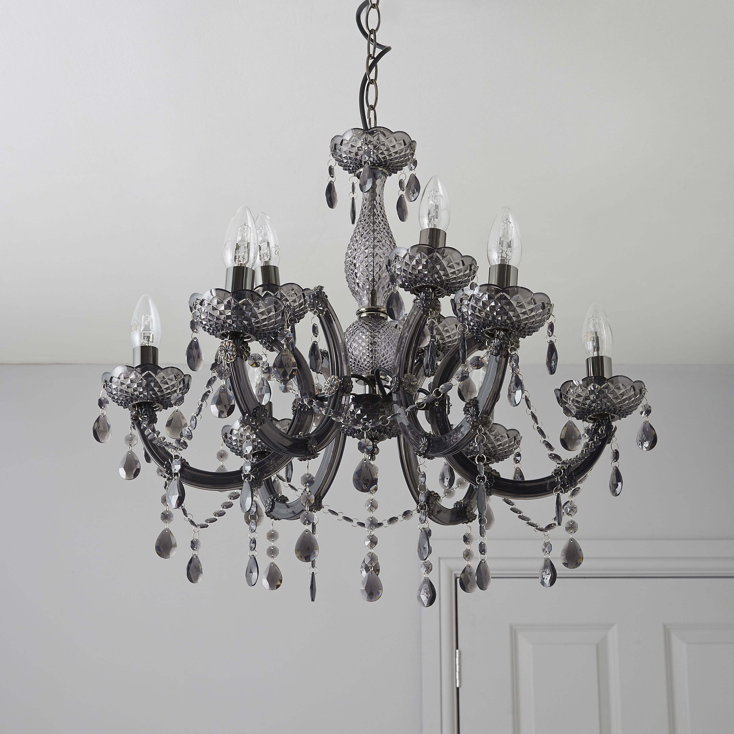 B And Q Lighting Ceiling: Annelise Crystal Droplets Smoked 9 Lamp Chandelier | Departments | DIY at  B&Q,Lighting