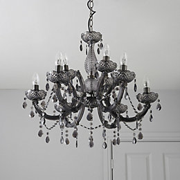 Annelise Crystal Droplets Smoked 9 Lamp Chandelier