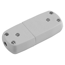 B&Q 10Ah SP White Matt 3 Pin Inline