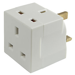B&Q White 2-Gang 240V 13A Adaptor