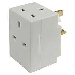 B&Q White 3-Gang 240V 13A Adaptor