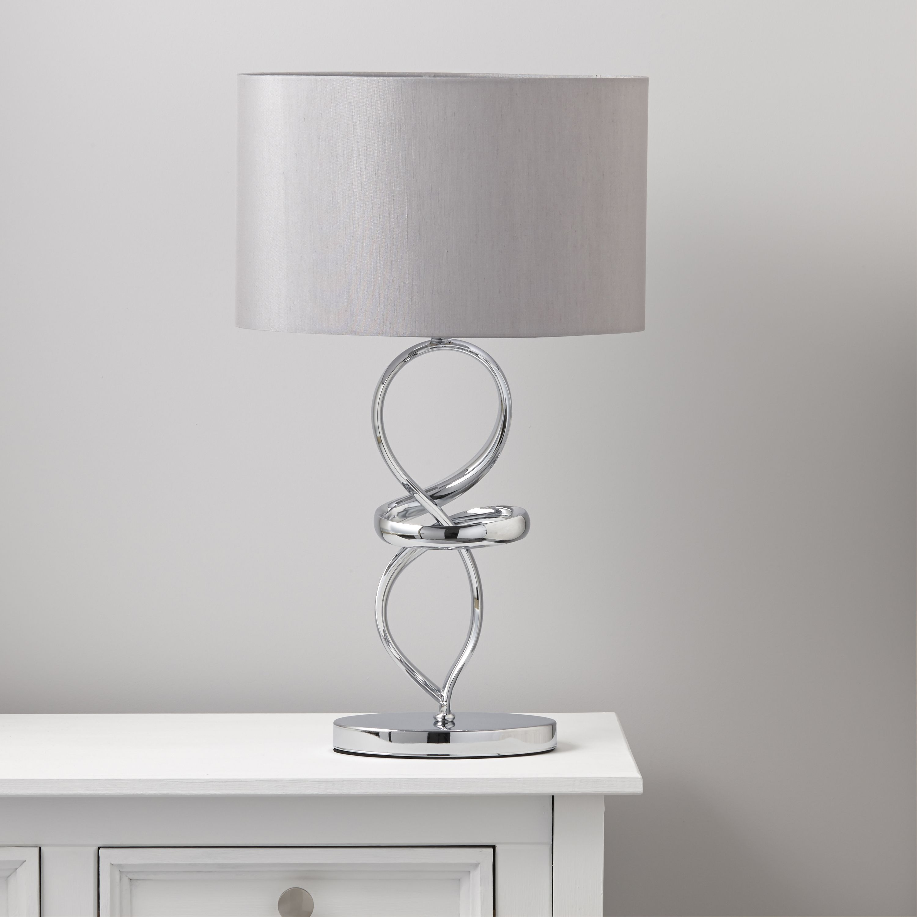 Hadwick Twisted Silver Chrome Effect Table Lamp