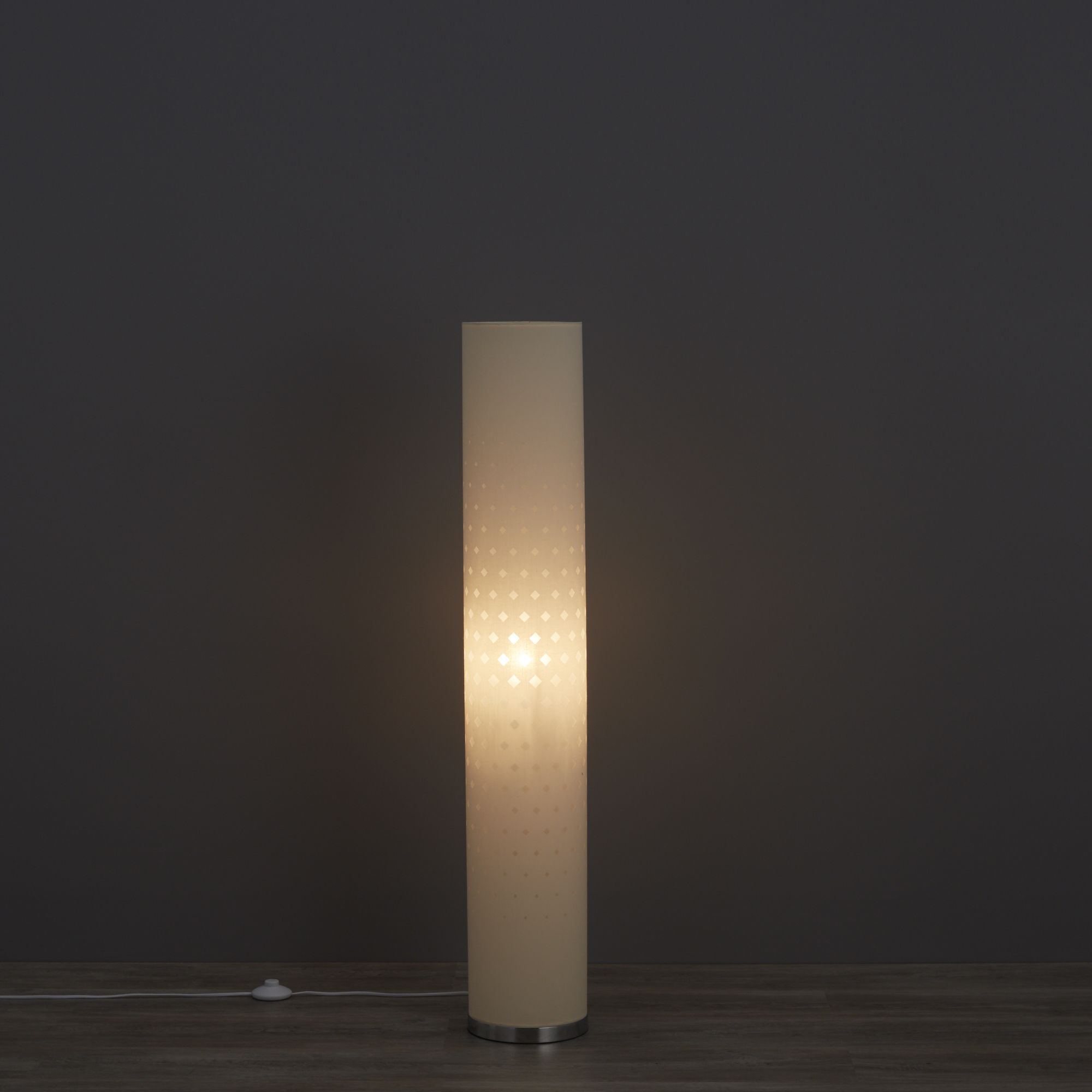 Teiger cylinder ivory floor lamp departments diy at bq for Paper cylinder floor lamp