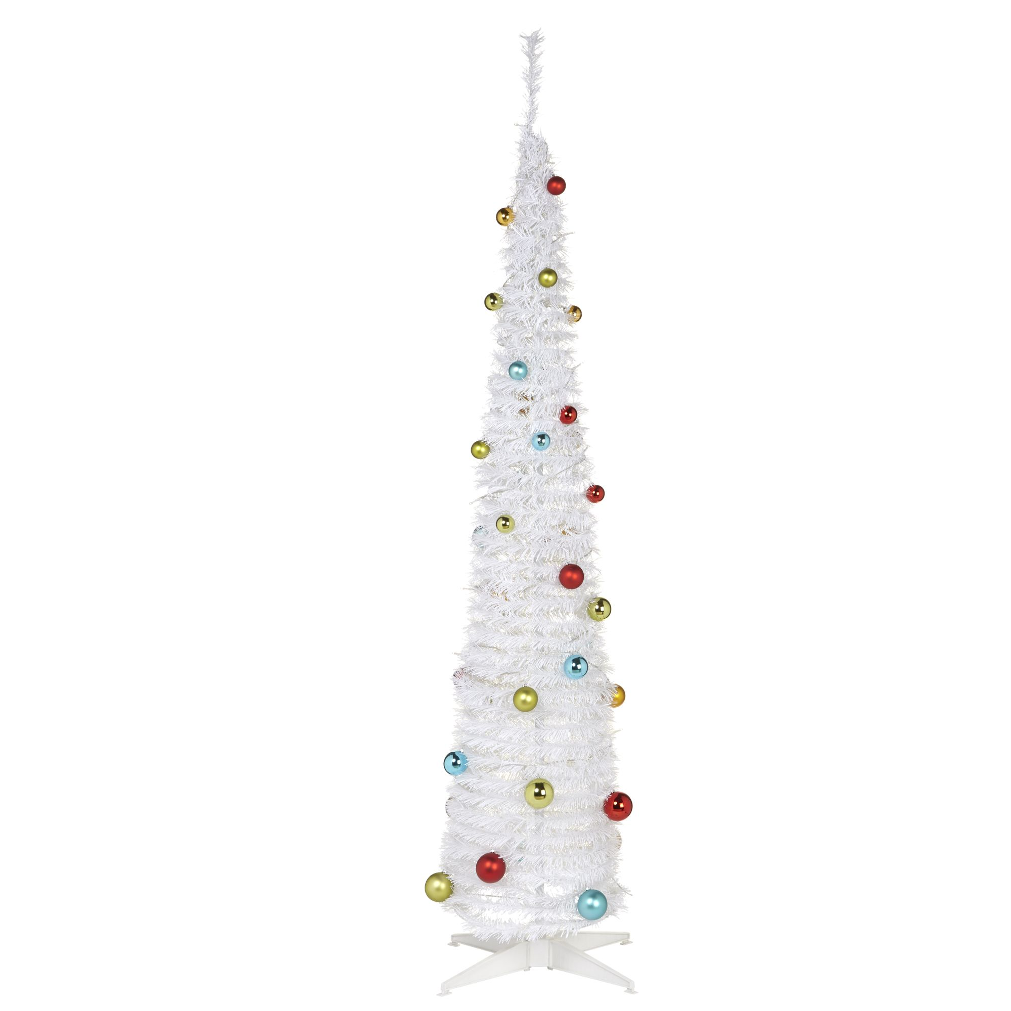6 Ft White Pop-Up White Pre-Decorated Christmas Tree