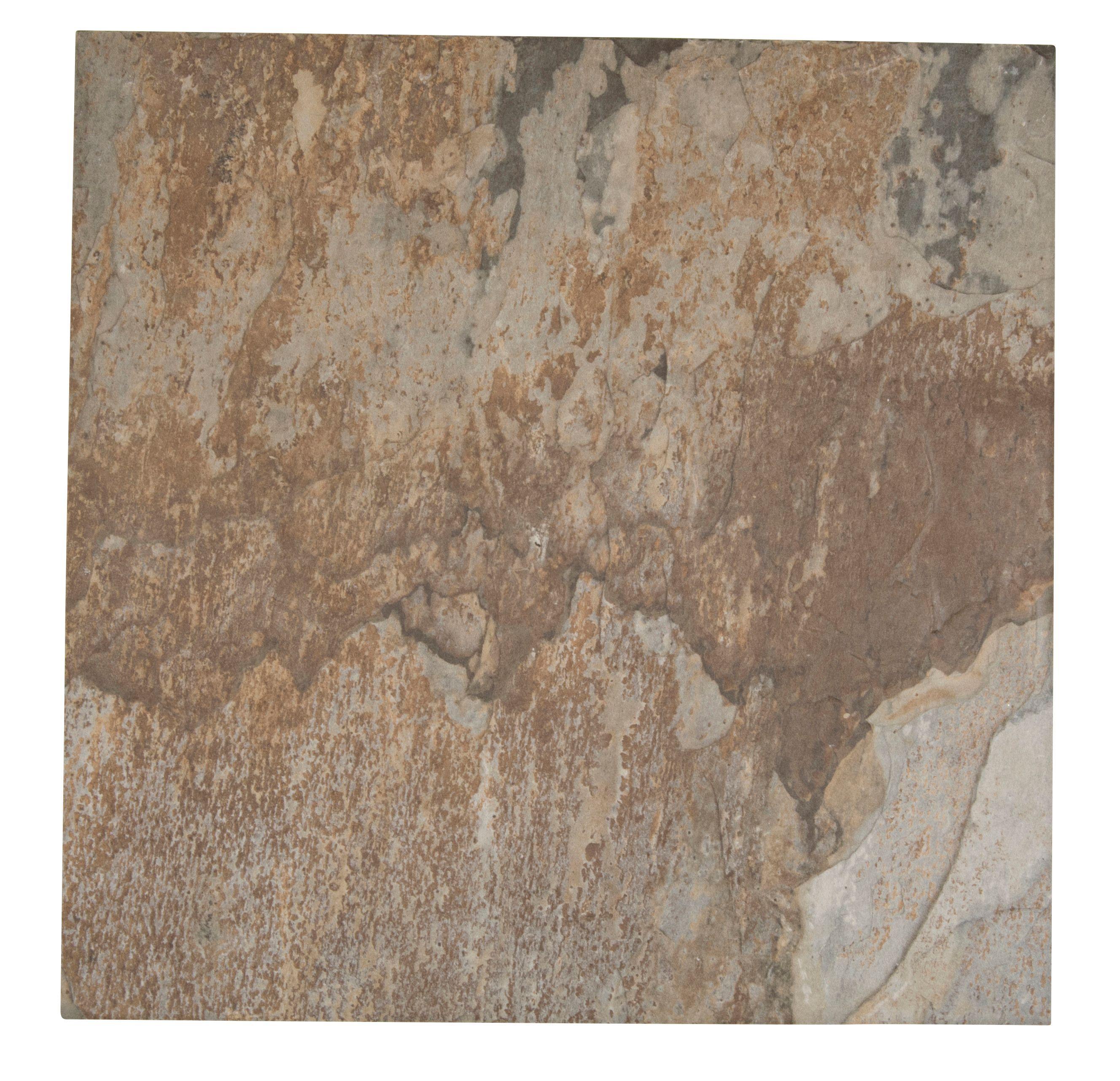 Wave Soil Brown Stone Effect Porcelain Floor Tile Pack Of