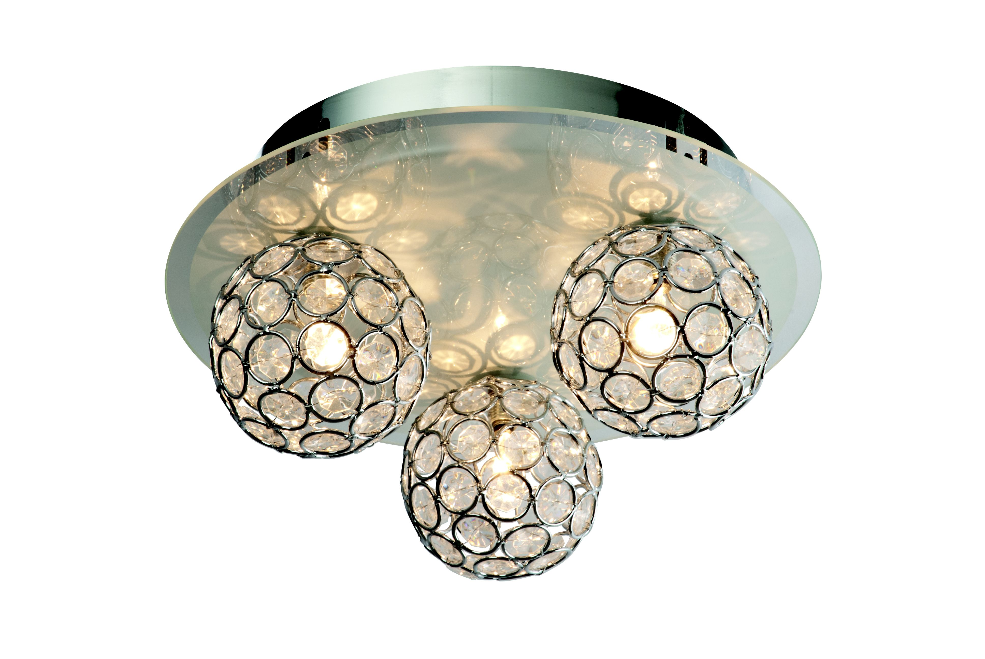 Diy at bq chameleon crystal circle colour changing 3 lamp ceiling light aloadofball Images