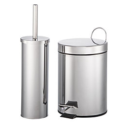 Carla Brushed Chrome Effect Pedal Bin & Toilet