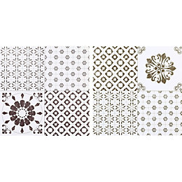 Colours Black & White Patchwork Effect Self Adhesive