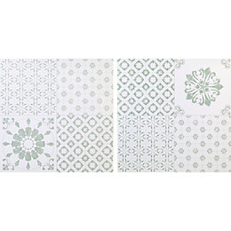 Colours Green & White Patchwork Effect Self Adhesive