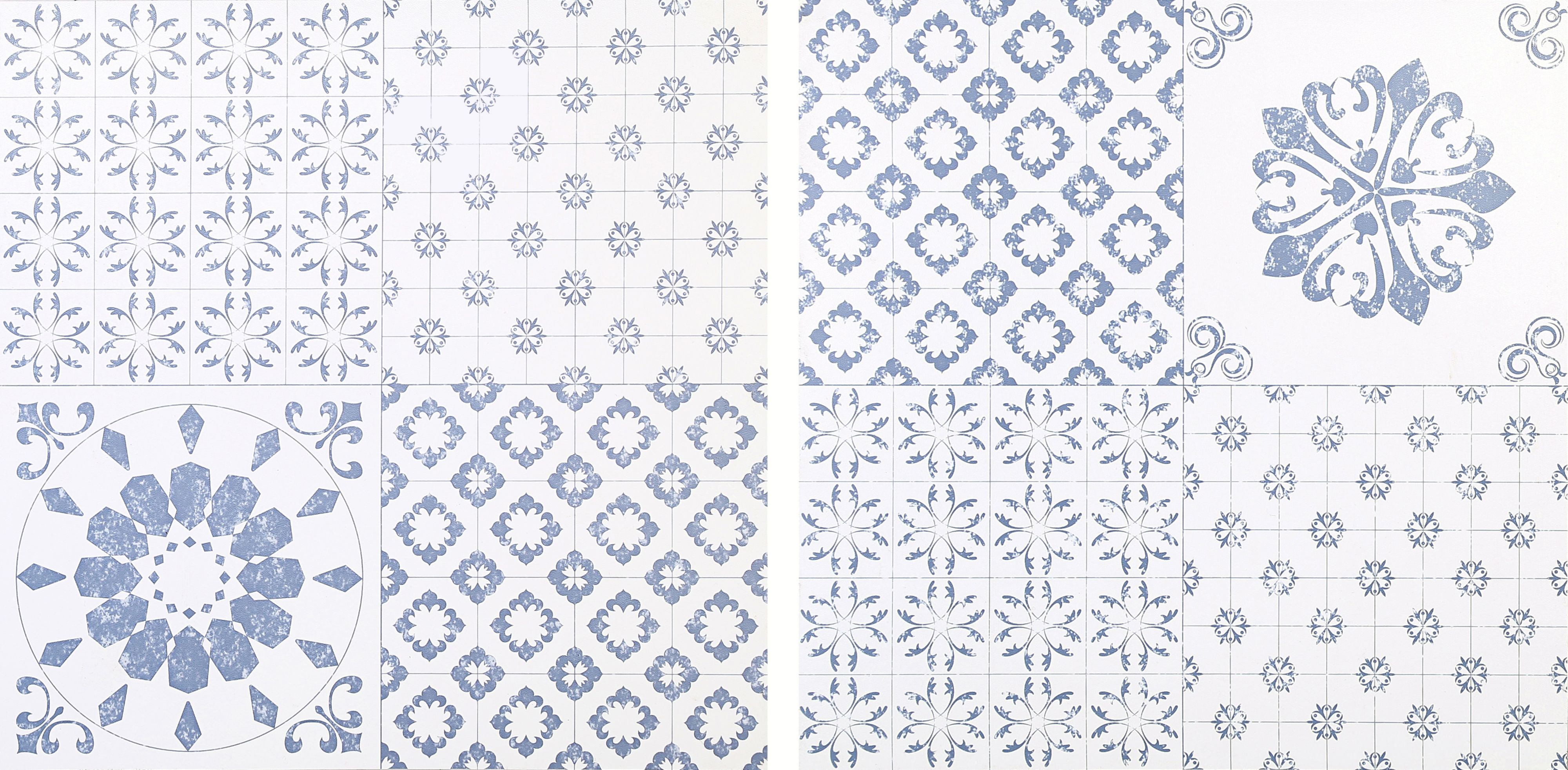 Colours blue white patchwork effect self adhesive vinyl tile colours blue white patchwork effect self adhesive vinyl tile 102m pack departments diy at bq dailygadgetfo Gallery