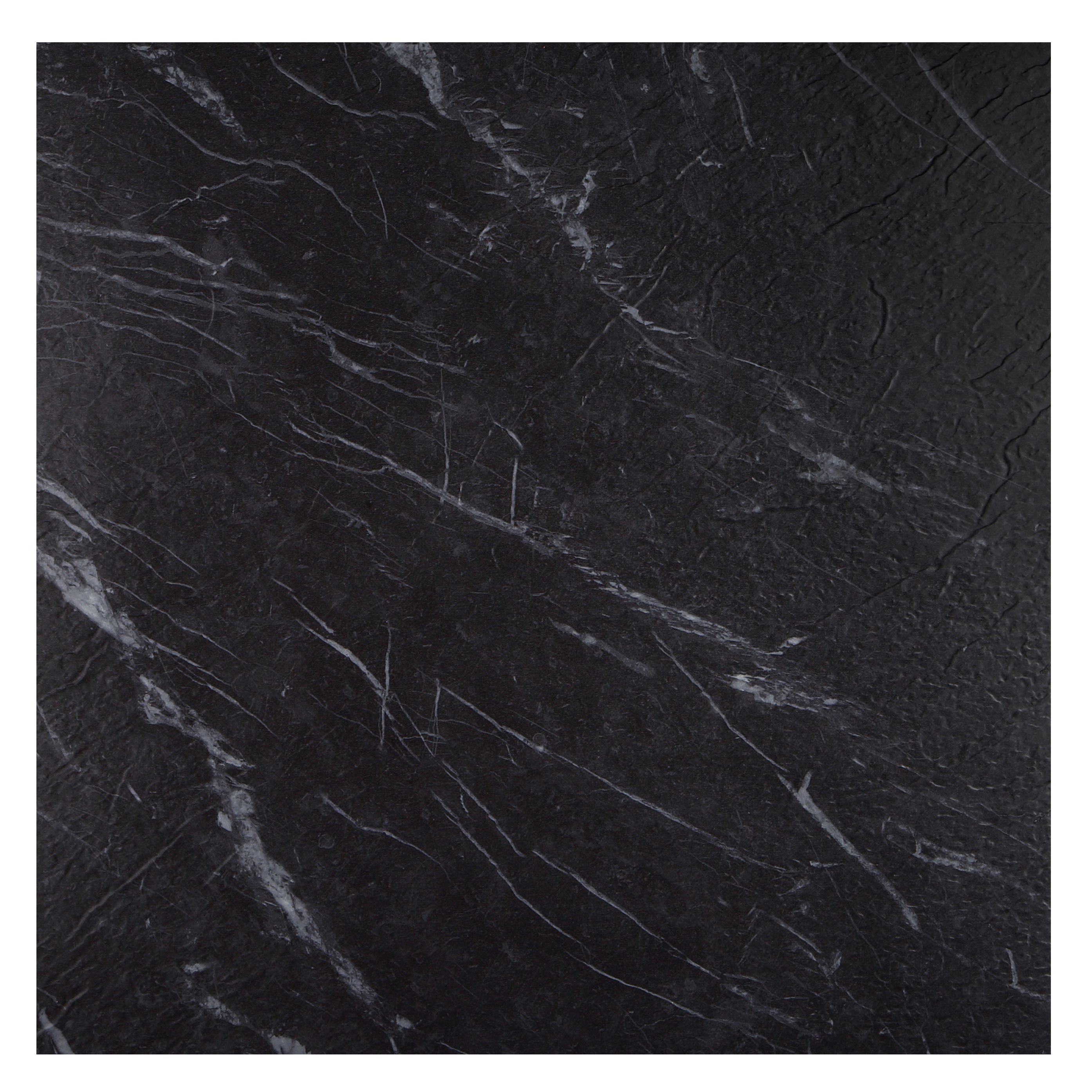 Colours Black Marble Effect Self Adhesive Vinyl Tile 1.02m² Pack