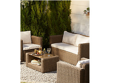 Soron Rattan Effect 4 Seater Coffee Set