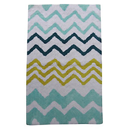 Blaize Blue & Yellow Zigzag Cotton Anti-Slip Backing