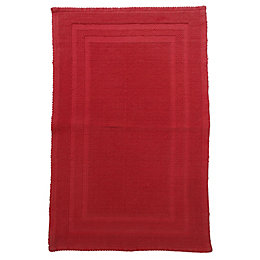 Sofia Red Cotton Anti-Slip Backing Bath Mat (L)800mm